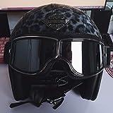 LALEO personalità Stampa Leopardo PU Cuoio Retro Harley Open Face Casco da Moto con Goggle, Traspirante Adatto per Donna e Uomo Adulto, Casco Jet, Omologato ECE S-XXXL (55-65cm),Darkgray,XXXL