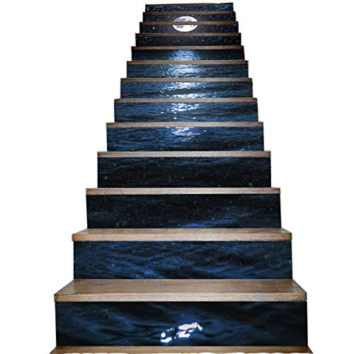 Black Dark Ocean and Night Sky Stair Riser Sticker White Bright Moon Star Stairway Decor Waterproof Self Adhesive Staircase Decal Decorative Home Step Stick Mural House Decoration 13 Piece Per Set