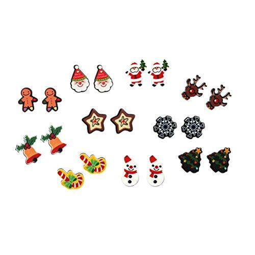 TENDYCOCO Pendientes Pendientes de Navidad Set Copo de Nieve Deer Ear Stud para Mujeres Niñas 10 Pares