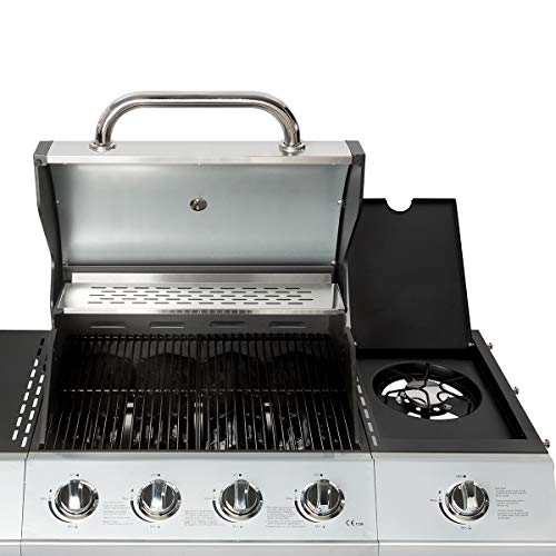 Charles Bentley 5 Burner (4+side) Premium Gas BBQ with Side Burner, Bottle Opener, Thermometer – Stainless Steel