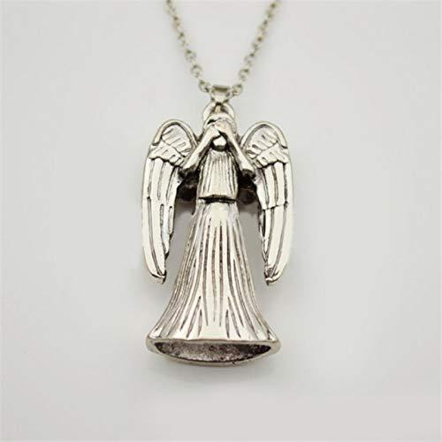 ShSnnwrl Collar Ángel Enojado Collar Jesucristo Amuleto Que Colgante Vintage Antiguo Color Plata joyería Hombres Mujeres