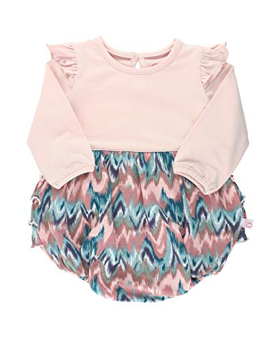 RuffleButts Baby/Toddler Girls Watercolor and Ballet Pink Flutter Bubble Romper - 18-24m