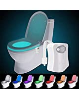 The Original Toilet Night Light Gadget, Fun Bathroom Lighting Add on Toilet Bowl Seat, Motion Sensor Activated LED 9 Color Modes - Weird Novelty Funny Birthday Gag Gifts for Men, Dad, Kids & Toddlers