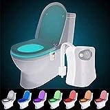 WC luz nocturna LED Luz de Inodoro Luz con Detección de movimiento del sensor automático, 8 Cambio de Color, Funciona con Pilas, para cuartos de baño con niños