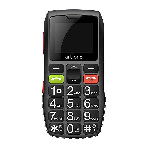 Artfone C1 - Teléfono móvil para personas mayores con teclas grandes | Función SOS | Pantalla de 1,77 pulgadas | Doble SIM | Llamada rápida | Linterna | Radio sonido alto | Batería de larga duración