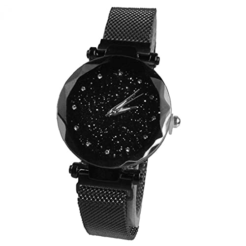 Las Mujeres Miran el Reloj de Cuarzo analógico con el Brazalete de aleación Starry Sky Dial Simuled Diamante Relojes de muñeca delicadeza Relojes de Cuarzo con batería (Negro)