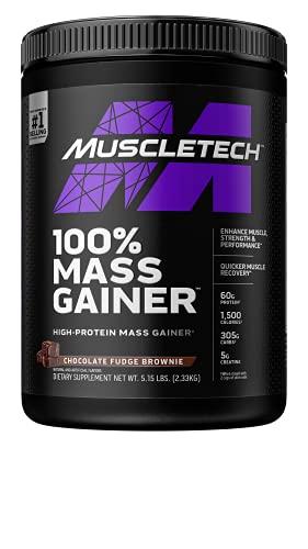 Mass Gainer | MuscleTech 100% Mass Gainer Protein Powder | Protein Powder for Muscle Gain | Whey Protein + Muscle Builder | Weight Gainer Protein Powder | Creatine Supplements | Chocolate, 5.15 lbs