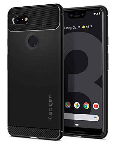 Spigen Rugged Armor, Google Pixel 3 XL Hülle, F20CS25021 Robuste TPU Silikon Schutzhülle Stylisch Karbon Design Handyhülle Hülle (Schwarz)