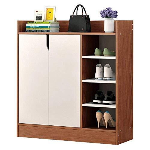 ShiSyan Bastidores del zapato 4 estantes de zapatos gabinete oficina del gabinete de almacenamiento con 2 puertas blancas ahorro de espacio Fácil Ensamble (Color: Marrón, tamaño: 80 * 30 * 80 cm) Arma