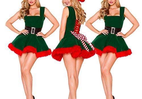 MCSZG Nuovo Vestito Sexy da Natale Costume da Elfo Verde di Natale da Donna per Abiti in Pelliccia di Velluto Verde per Adulti Costume da Babbo Natale Femminile con Cappuccio