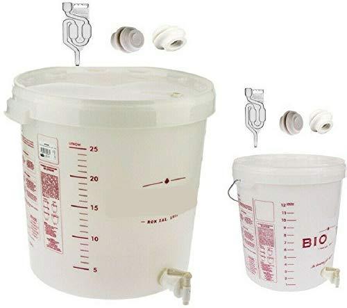 lilawelt24 2 Gärbehälter Set 15L+30L + Gärrohr+ Hahn+ Stopfen Gäreimer Gärfass Gärballon