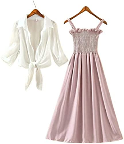 Perry Collection Women s Fit and Flare Stylish Ankle Length Long Maxi Dress with White Shrug Pink and White 36