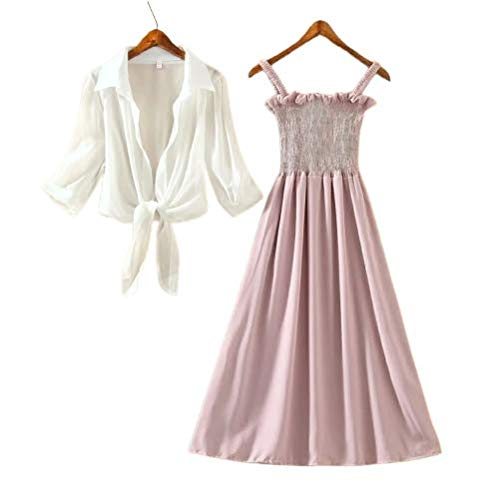P.C Perry Collection Women's Fit and Flare Stylish Ankle Length Long Maxi Dress with White Shrug – Pink and White (36)