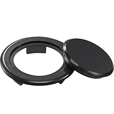 Bememo 2 Inch Patio Table Umbrella Hole Ring and Cap Set, Standard Size Umbrella Thicker Hole Ring Plug and Cap Set (Black, 1 Set)