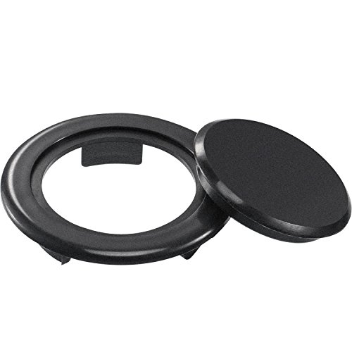 2 Inch Patio Table Umbrella Hole Ring and Cap Set, Standard Size Umbrella Thicker Hole Ring Plug and Cap Set (Black, 1 Set)