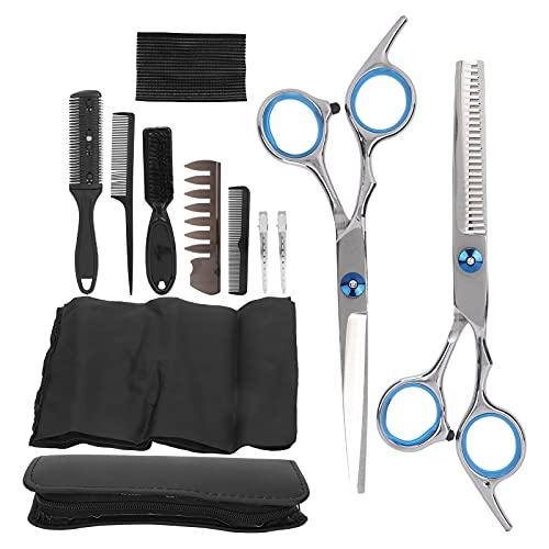 Kit de tijeras de corte de pelo, kit de tijeras de peluquería profesional con tijeras de acero inoxidable, peine, capa y pinzas, juego de tijeras de corte de pelo, 12 piezas