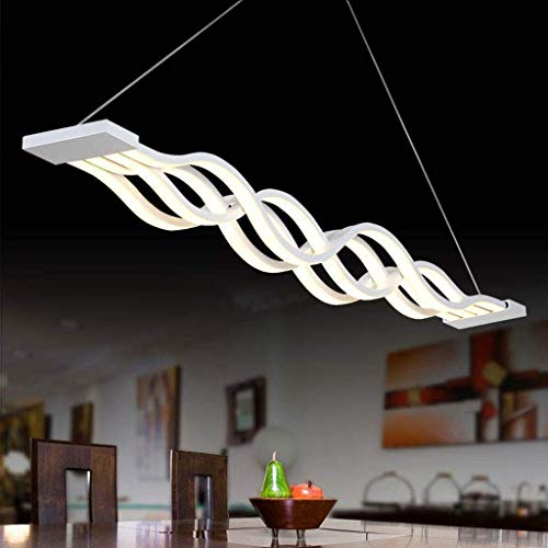 Equipo diario Candelabros Candelabro Luces colgantes LED regulables Lámpara de mesa de comedor Decoración moderna Luz de techo de onda de metal ajustable en altura Lámpara colgante Sala de estar Of