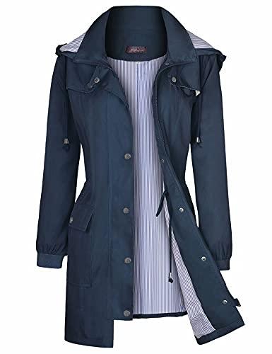 Bloggerlove Chubasquero para mujer, impermeable, ligero, para exteriores, con capucha, tallas S-XXL, Azul marino, S
