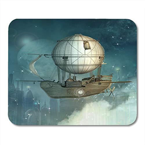 Semtomn Gaming Mouse Pad Steampunk Fantasy Schiff fliegt im Himmel über futuristischen Stadt Dekor Büro rutschfeste Gummi Backing Mousepad Mouse Mat