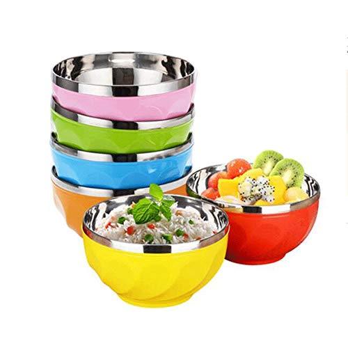 YUZHUKKKPYZW - Ciotole per cereali in acciaio inox, 6 pezzi, ciotola isolante per la casa, colore doppio strato, anti-scottatura e anti-caduta, grande ciotola per riso mensa, 15 x 8,2 cm