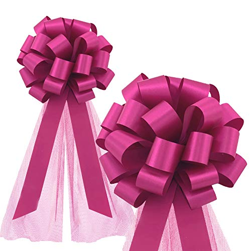"Hot Pink Fuchsia Wedding Pull Bows with Tulle Tails - 8"" Wide, Set of 6"