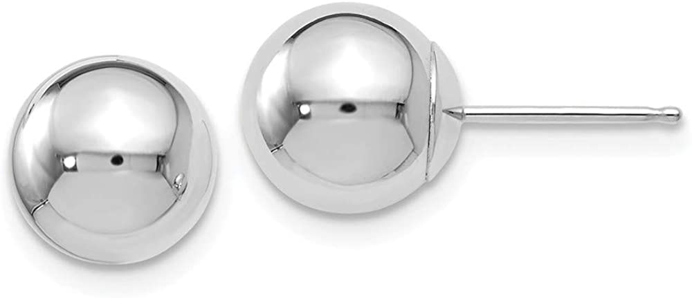 Leslies 14K White Gold Polished 8mm Ball Post Earrings