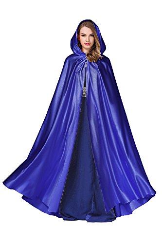 Women's Wedding Hooded Cape Bridal Cloak Poncho Full Length Royal Blue