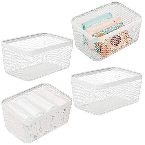 mDesign Flat Decorative Metal Bathroom Storage Organizer Bin Basket for Vanity, Towels, Cabinets, Shelves - Holds Sponges, Make-Up, Shampoo, Conditioner, Cosmetics, Hand Towels, 4 Pack - White