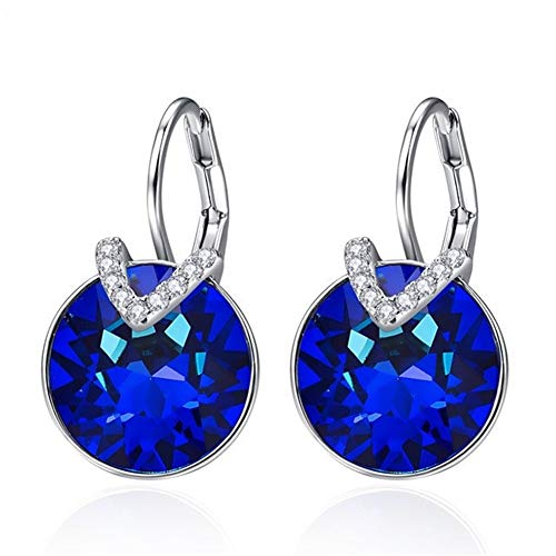 Crystal round Bella V-shaped earrings female crystal female earrings wedding banquet jewelry (Metal Color : 002)