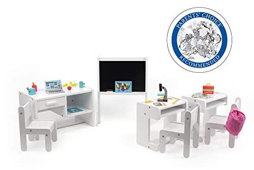 Playtime by Eimmie Classroom Set - Includes 3 Desks and 25 School Accessories for 18 Inch Dolls - Doll Furniture