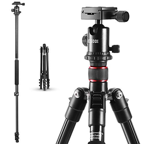 "ESDDI 64"" Camera Tripod, Compact Aluminum Tripod for DSLR, Photography Tripod with Monopod 360 Degree Ball Head 1/4"" Aluminum Quick Release Plate Phone Holder for Vlog,Travel and Work"