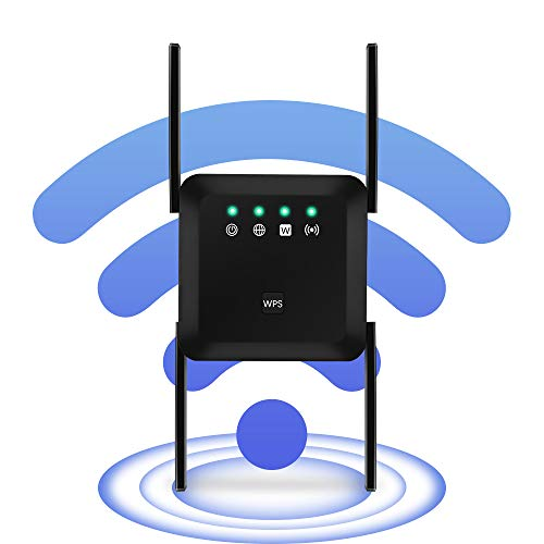 1200Mbps WiFi Range Extender Wireless Signal Repeater Booster, Dual Band Expander, 4 Antennas 360° Full Coverage, Extend WiFi Signal to Smart Home & Alexa Devices