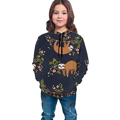 YongColer Unisex Realistic 3D Digital Print Pullover Hoodie Hooded Sweatshirt(Cute Sloth Climb Tree, M)