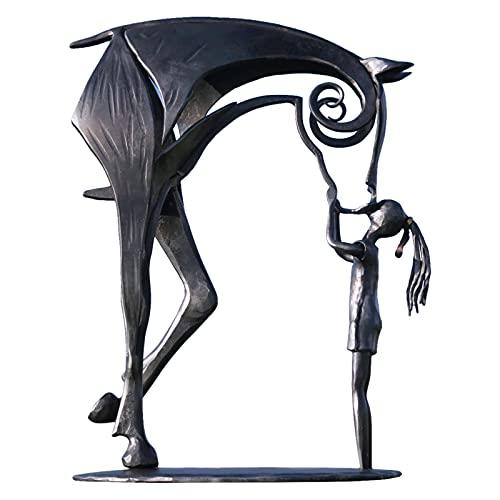 ARVALOLET Sculpture Decorative Figure Metall Pferdestatue Küssendes Pferd Skulptur Deko Modern Statue Metall Tier Amp Figurine Dekorationen Art Statue Decoration Living Room Kuss Pferdeskulptur