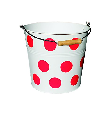 Organize It All Metal Bucket - Red Polka Dot