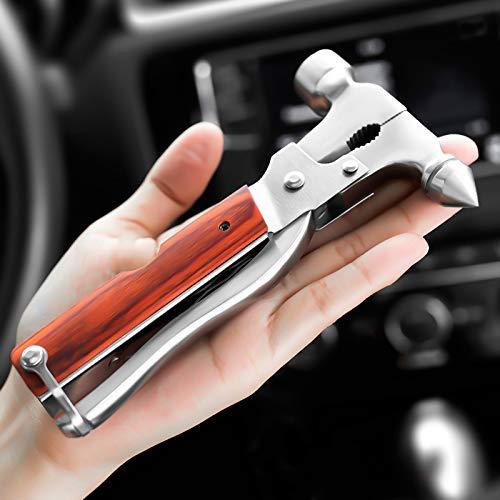BESTT Multifunction Notfallhammer fürs Auto 2 Verschiedene Hammerköpfe mit Taschenlampe Gurtmesser Zange Schraubendreher, Guter Partner für Reisen