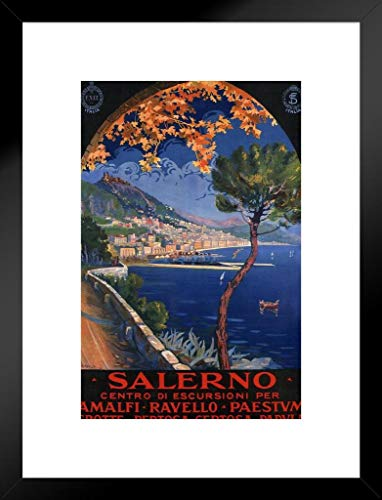 Poster Foundry Salerno Italy Amalfi Coast Ocean Resort Vintage Travel Matted Framed Art Print Wall Decor 20x26 inch