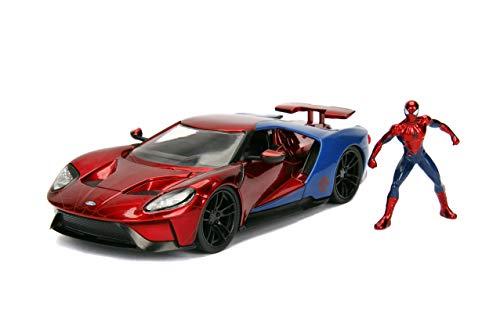 Jada Toys - 99725RB - Modell FORD GT 2017 mit Figur Spider Man 1/24 Die-Cast Marvel - Rot/Blau