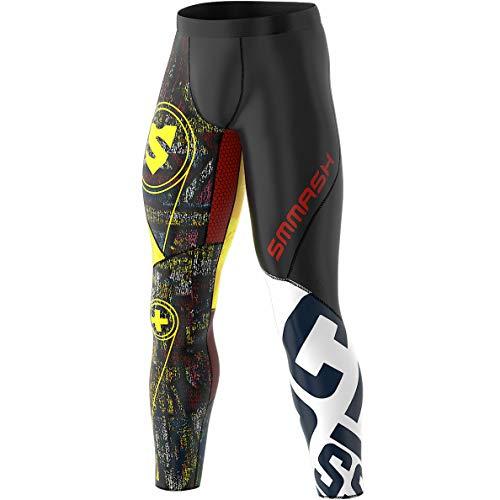 SMMASH Graffiti Leggins Sportivi Lunghi da Uomo, Pantalone Termico per Running, Crossfit, Gym, Outdoor, Traspirante Tuta Termica, Materiale Antibatterico, Prodotto nell'Unione Europea (XXL)