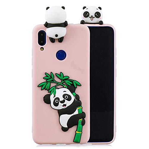 Huiran Funda para Xiaomi Redmi Note 7 Silicona Motivo 3D Divertidas Panda Bonita TPU Gel Ultrafina Slim Case Antigolpes Cover Protección Carcasa Dibujo Gracioso - Rosa