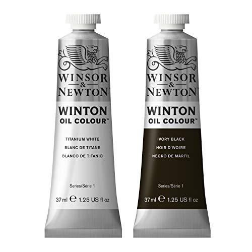Winton Oil Colour Paint Pack with 37ml Titanium White & 37ml Ivory Black
