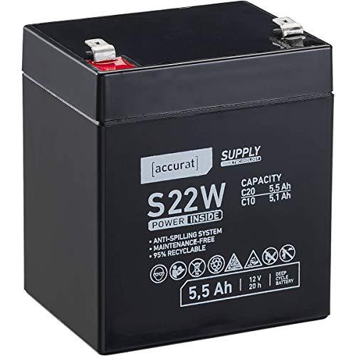 Accurat 12V 5,5Ah Blei-Akku AGM Blei-Batterie Zyklenfest Supply-Serie VRLA Versorgungsbatterie S22W (wartungsfrei)