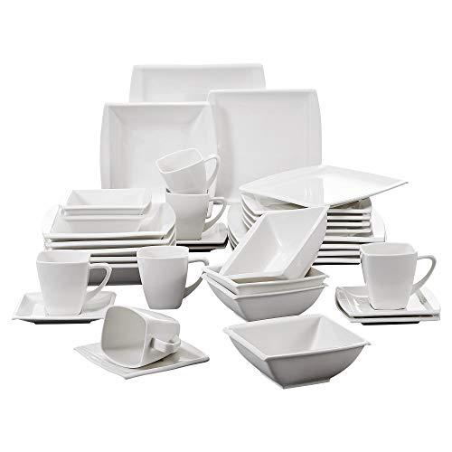 MALACASA, serie blance, 42 piezas vajillas de porcelana cada una con 6 x hueveras/tazas de café/platillos/cuencos de cereal/platos de postre/platos de sopa/platos de cena