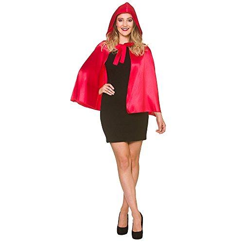 Wicked Costumes Capa con Capucha de Raso Corta de Mujer
