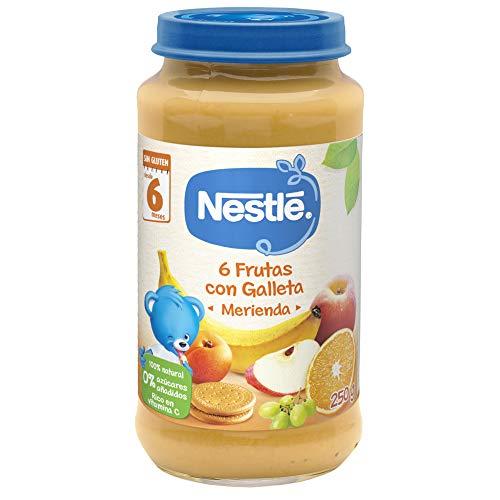 Nestlé Naturnes Alimento infantil, merienda, postres de 6 frutas con galleta - 250 gr