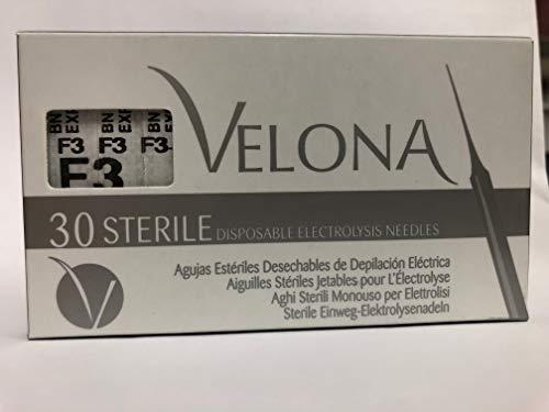 AGUJAS DE DEPILACIÓN ELÉCTRICA DE ACERO VELONA F3-30 Unidades