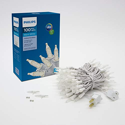 Philips 100 LED Warm White Indoor Outdoor Mini Christmas Lights, White String