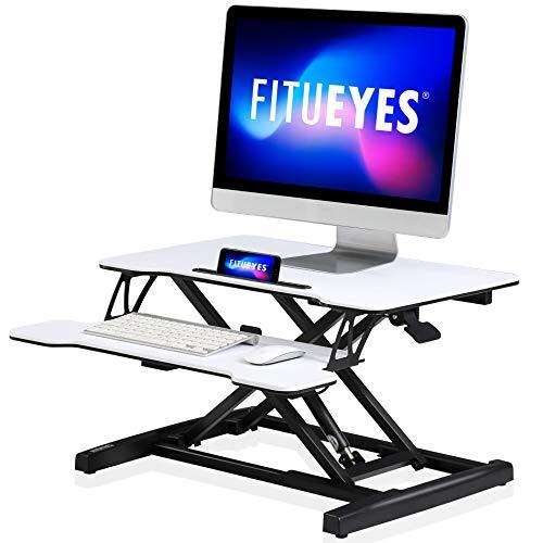FITUEYES Standing Desk Converter Pequeño 26''/64cm Color Blanco Convertidor de Escritorio de pie con Bandeja de Teclado Altura Ajustable SD260003WW