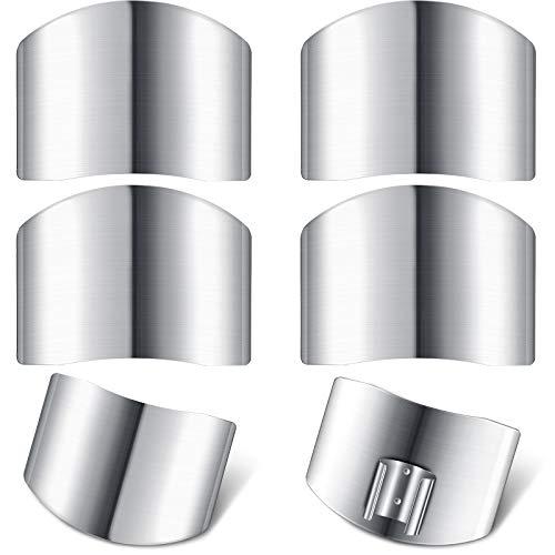 Protectores de Dedos de Acero Inoxidable Protector de Dedos Seguro Protector de Corte de Cuchillo para Rebanar en Cocina Cortar en Cubitos (6 Piezas)