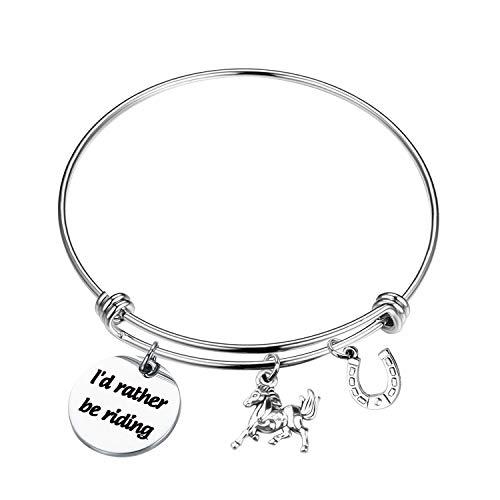 Mysomy - Portachiavi a forma di cavallo con scritta 'I d Rather be Riding Horse', regalo per gli amanti dei cavalli e Acciaio inossidabile